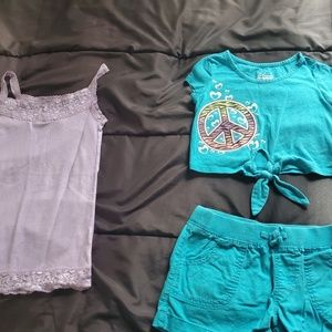 girl 7/8 turquoise shorts top and cami